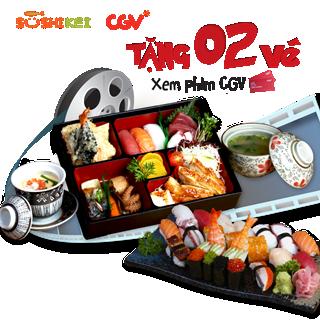 Tặng 2 vé xem phim CGV cực hot khi ăn ở Sushi Kei