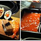 Tên món: Sushi. Mô tả: Sushi cuộn rong biển có thanh cua, bơ, tôm, cà rốt, wasabi, gừng được tô điểm hình bông hoa rất đẹp mắt nữa. Giá: 329.000 ( cho 1 suất Buffet Sumo)