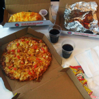 Seafood Delight Pizza, BBQ Chicken Wings, Cheesy Bread