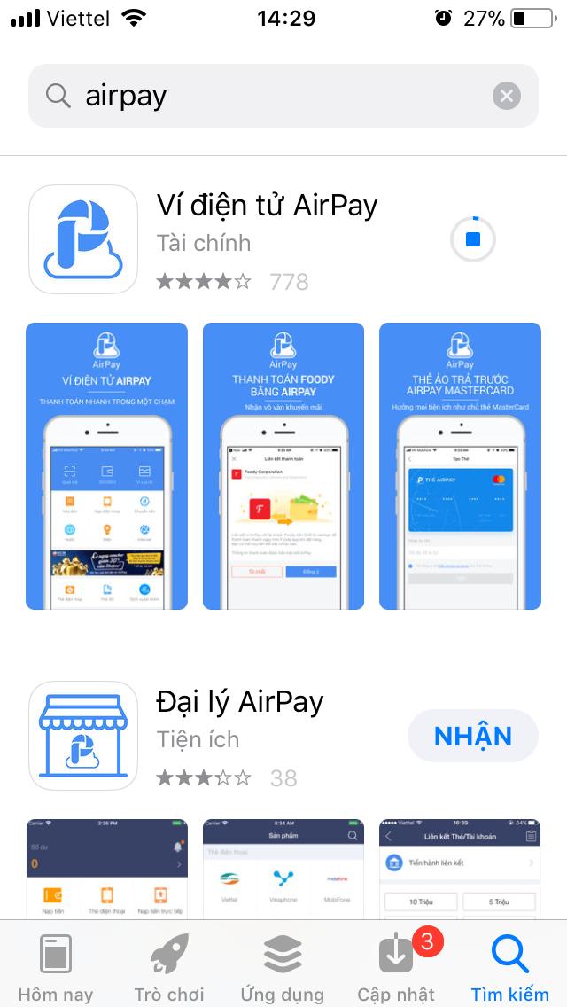 """Bước 2: Bấm vào """"Liên kết thẻ"""" để liên kết tài khoản ngân hàng của bạn với  ví AirPay"""