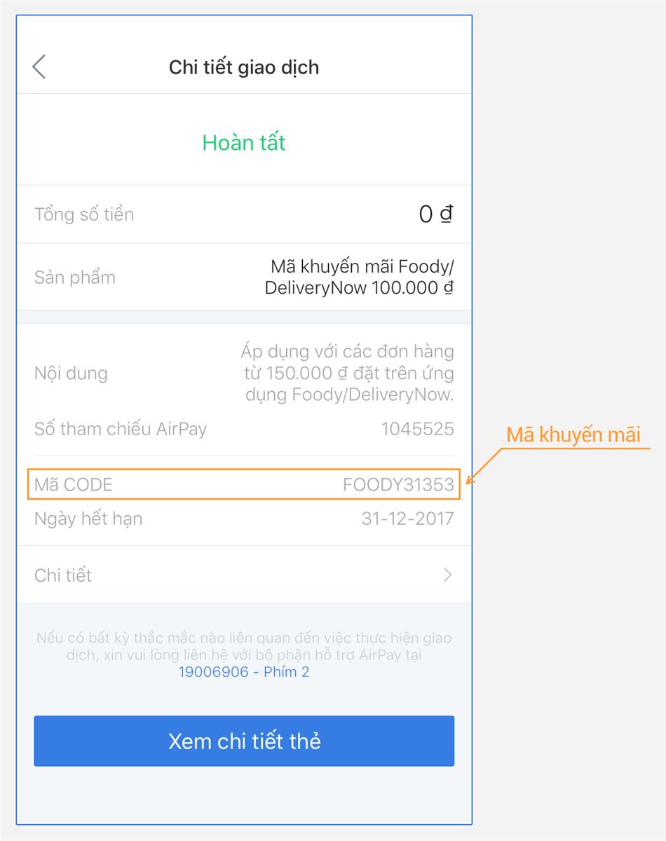 Sau khi liên kết thành công, mã khuyến mãi sẽ có trong Lịch sử giao dịch  trên ứng dụng ví điện tử AirPay trong vài phút.