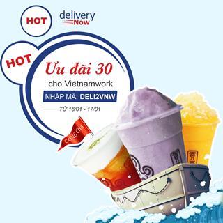 Giảm 30% 16 quán khi đặt món giao đến công ty Vietnamwork - deliveryNow