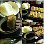 Tên món:  Kinako Warabi Mochi Mô tả: bánh dày trà xanh phủ bột đậu nành, sốt kuromitsu, kem vani. Giá: 72.000 + VND