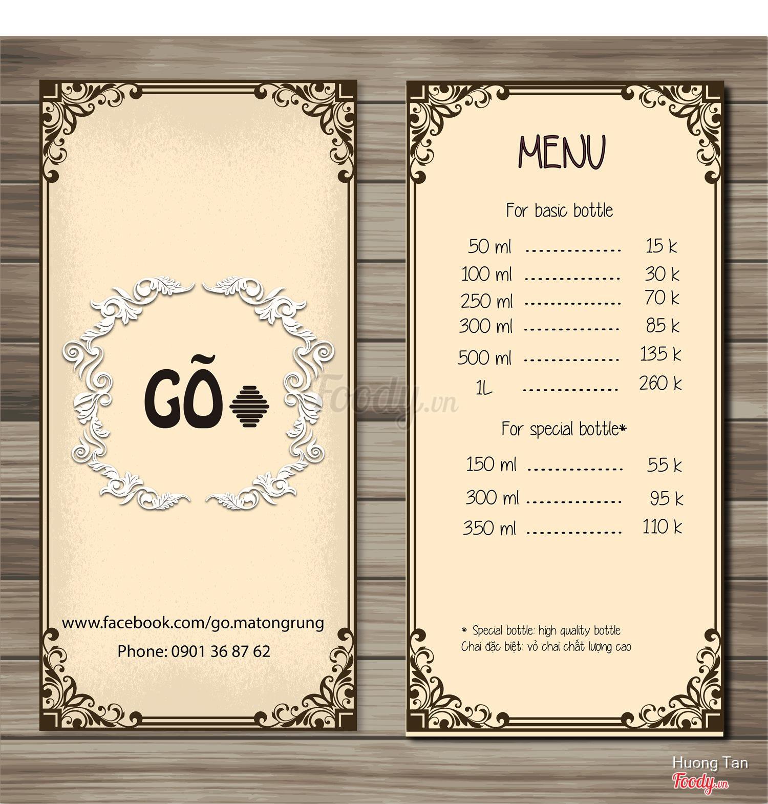 G m t ong r ng tp hcm menu th c n gi c g for Formatos y controles para restaurantes gratis